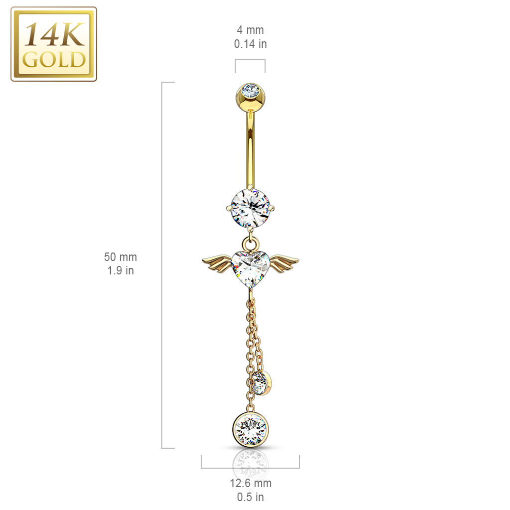 Dangling Belly Ring. Buy Belly Rings. Gabriel Angel Heart 14K Gold Belly Bar