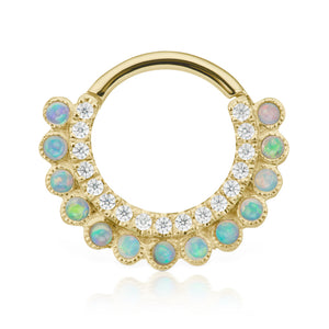 Apsara Opal Clicker by Maria Tash in Gold - Earring. Navel Rings Australia.