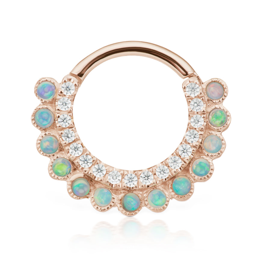 Apsara Opal Clicker by Maria Tash in Rose Gold - Earring. Navel Rings Australia.
