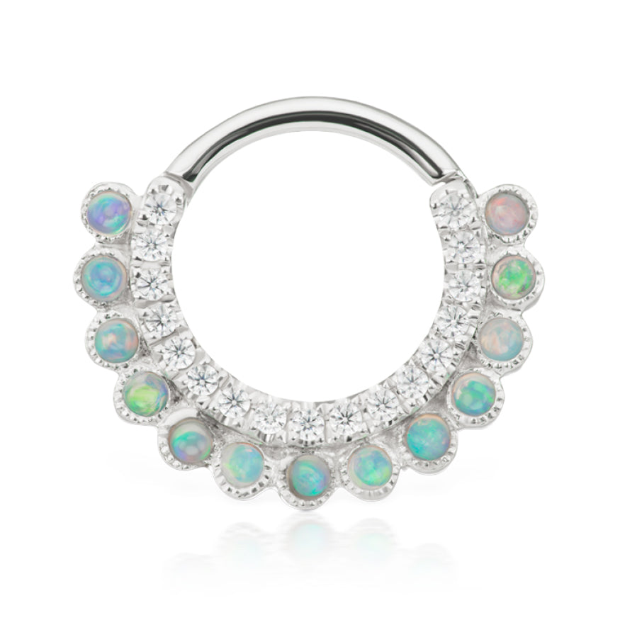 Apsara Opal Clicker by Maria Tash in White Gold - Earring. Navel Rings Australia.