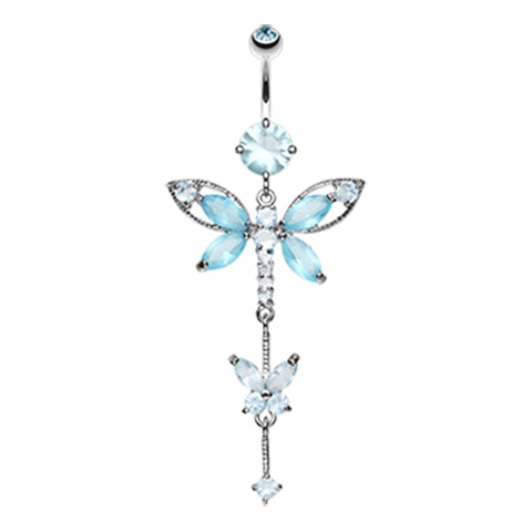 Aquamarine Carmalés Butterfly Belly Ring