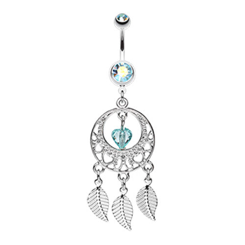 Aquamarine Dream Belly Ring - Dangling Belly Ring. Navel Rings Australia.