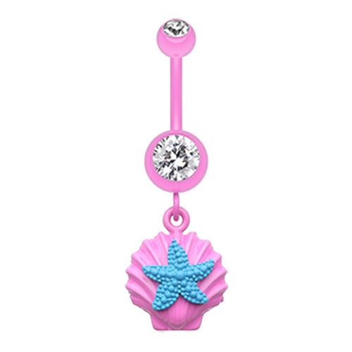 Dangling Belly Ring. Navel Rings Australia. Ariel's Shell Dangly Navel Ring