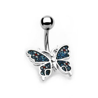 Art Deco Butterfly Belly Button Ring - Fixed (non-dangle) Belly Bar. Navel Rings Australia.
