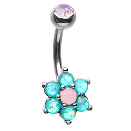 Astrid's Tantalising Bloom Belly Ring - Fixed (non-dangle) Belly Bar. Navel Rings Australia.