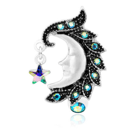 Reverse Top Down Belly Ring. Quality Belly Rings. Aurora Blue Moon Belly Piercing Ring