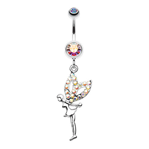 Mystical Aurora Fairy Belly Button Ring - Dangling Belly Ring. Navel Rings Australia.