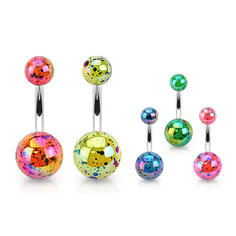 Basic Curved Barbell. Belly Rings Australia. Pearled Glimmer Acrylic Belly Ring