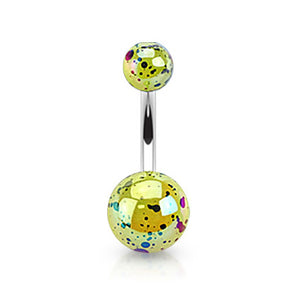 Pearled Glimmer Acrylic Belly Ring - Basic Curved Barbell. Navel Rings Australia.