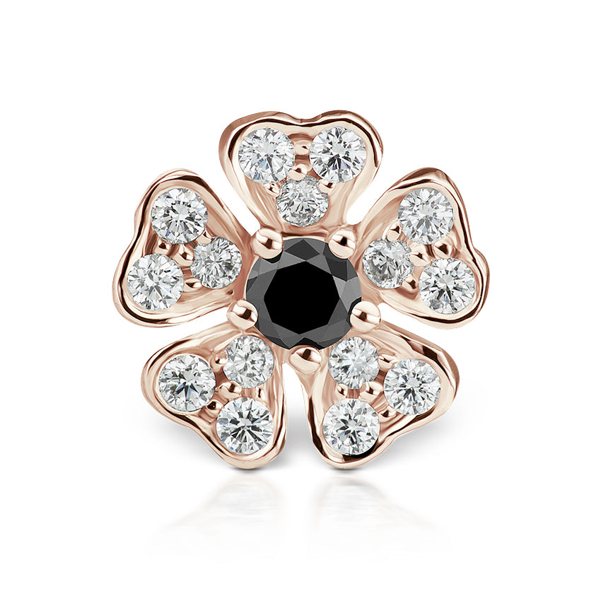 Earring. High End Belly Rings. Black Diamond Pansy Earring by Maria Tash in 18K Rose Gold. Threaded Stud.