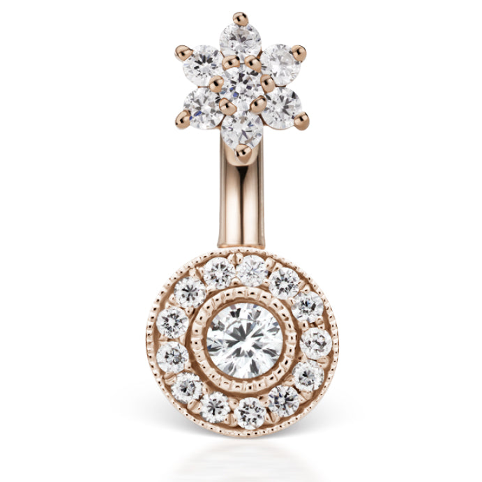 Rose Gold Diamond Flower and Pave High End Belly Button Ring - Fixed (non-dangle) Belly Bar. Navel Rings Australia.