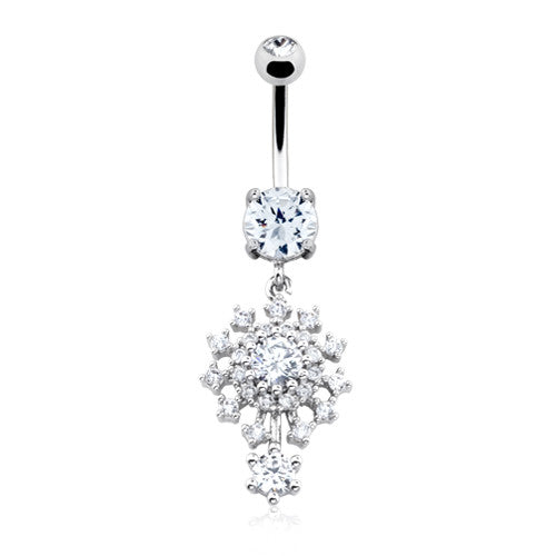 Atomic Flower Burst Belly Bar - Dangling Belly Ring. Navel Rings Australia.