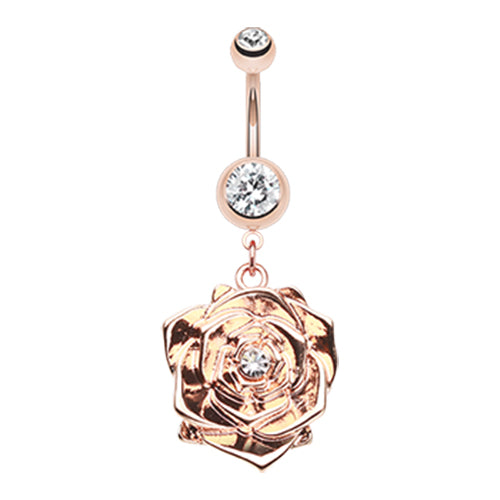 Ava's Rose Belly Button Ring - Dangling Belly Ring. Navel Rings Australia.
