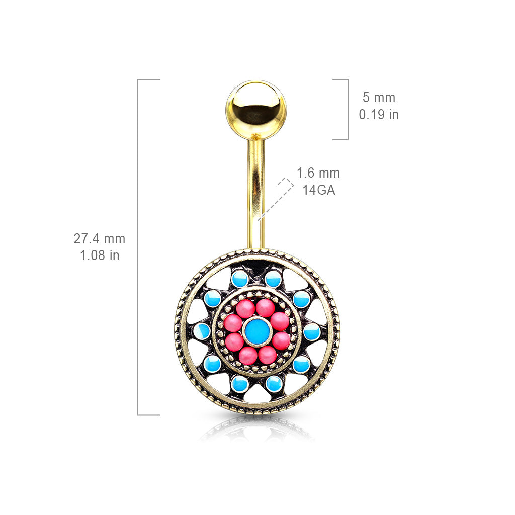 Fixed (non-dangle) Belly Bar. Belly Bars Australia. Aztec Sun Wheel Belly Bar in Gold