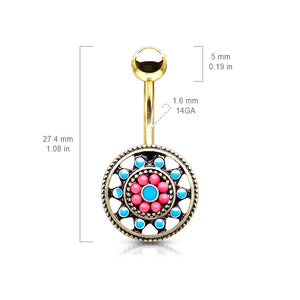 Aztec Sun Wheel Belly Bar in Gold - Fixed (non-dangle) Belly Bar. Navel Rings Australia.