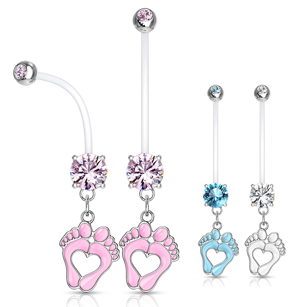 Jewelled Pitter Patter Pregnancy Belly Bar - Maternity Belly Ring. Navel Rings Australia.