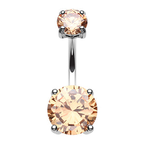 Steel Kingdom Gem Navel Bar - Fixed (non-dangle) Belly Bar. Navel Rings Australia.