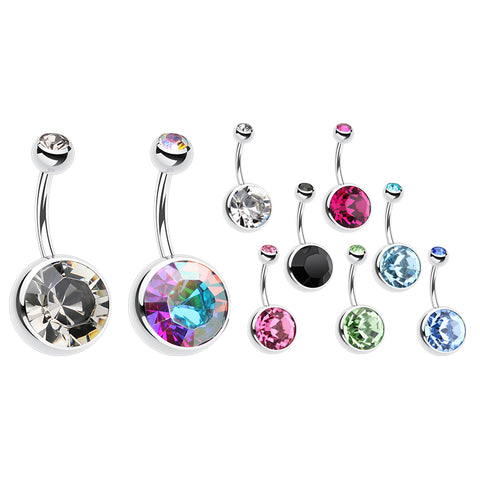 14K Solid White Gold Gem Belly Piercing