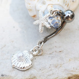 Sea Charmed Belly Ring - Dangling Belly Ring. Navel Rings Australia.