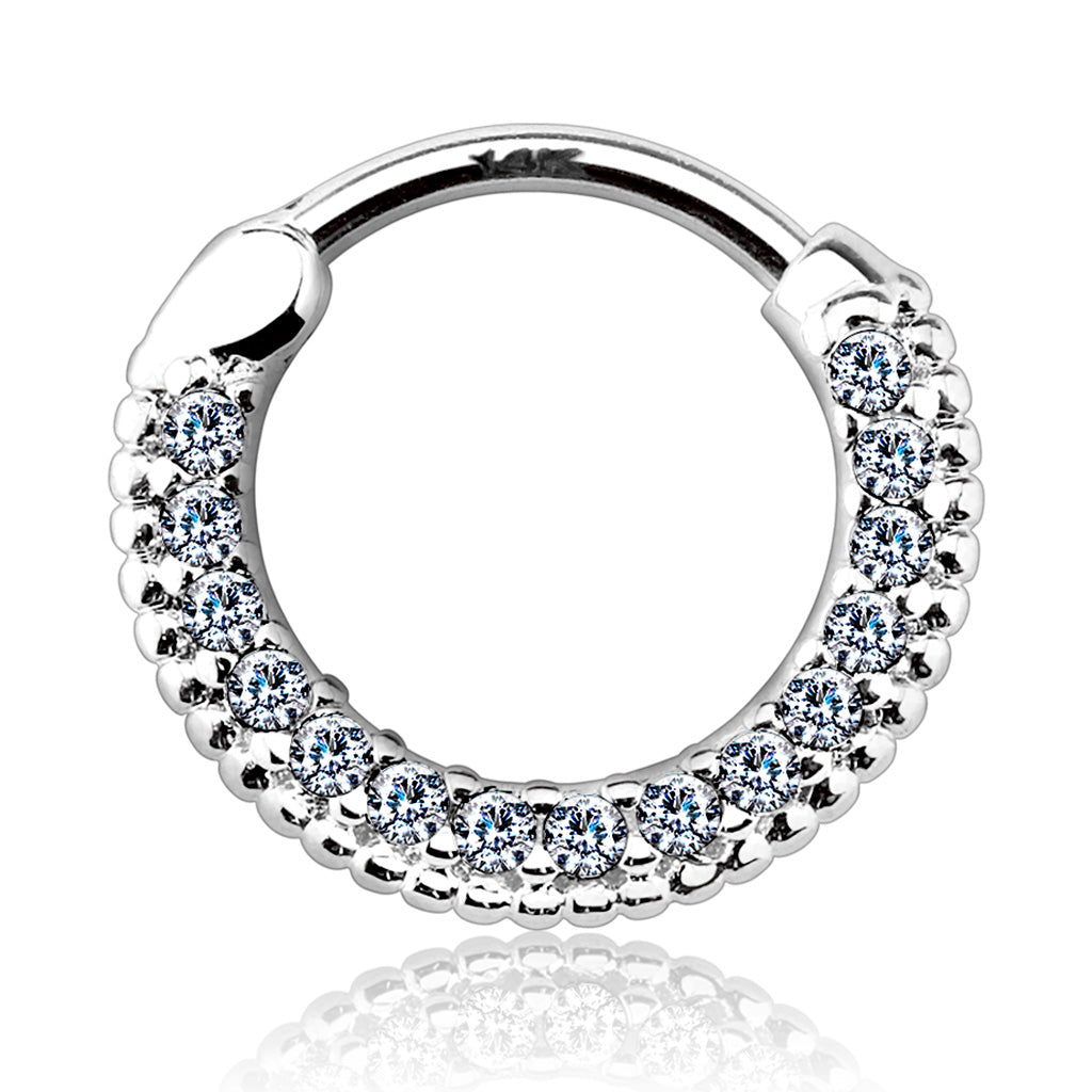 Braided Gem Pave Septum & Daith Hoop in White Gold - Septum. Navel Rings Australia.