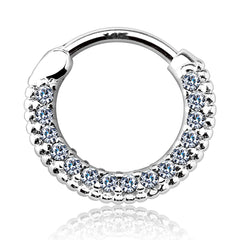 Braided Gem Pave Septum & Daith Hoop in White Gold