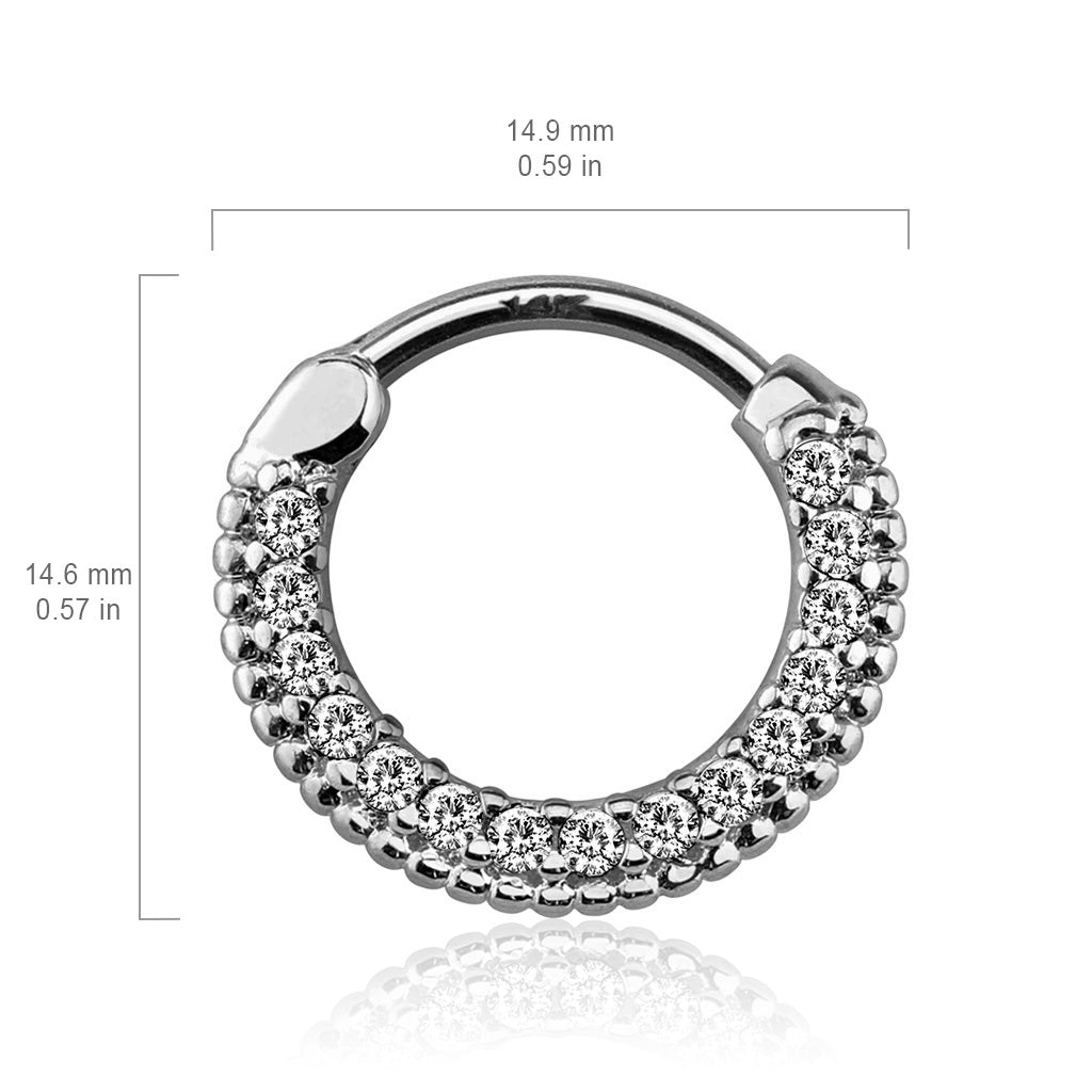 Septum. Quality Belly Bars. Braided Gem Pave Septum & Daith Hoop in White Gold