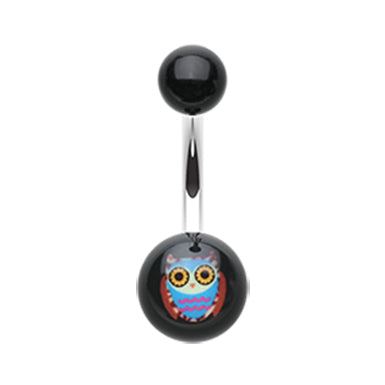 Beaming Night Owl Belly Ring - Fixed (non-dangle) Belly Bar. Navel Rings Australia.
