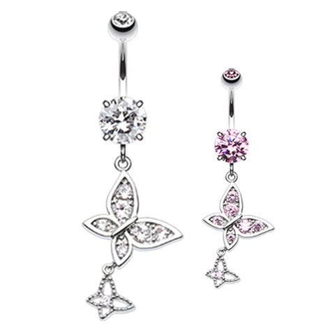 Dangling Belly Ring. Cute Belly Rings. Giorgio Butterfly Dangly Belly Ring