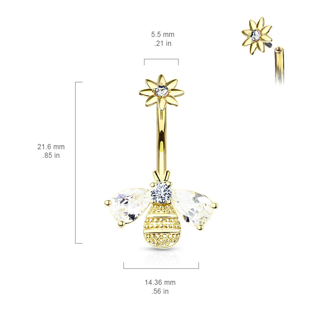 Fixed (non-dangle) Belly Bar. Navel Rings Australia. Buzzy Bee Belly Ring in Gold