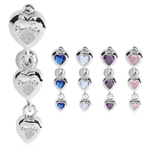 Bellè Heart Drop Belly Button Ring - Reverse Top Down Belly Ring. Navel Rings Australia.