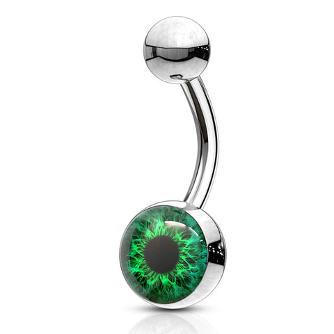 Emerald I C U Eyeball Belly Bars