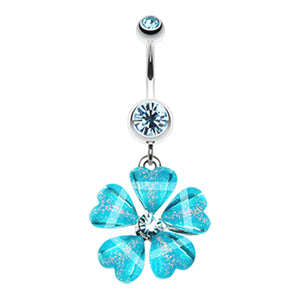 Waikiki Flower Belly Button Ring - Dangling Belly Ring. Navel Rings Australia.