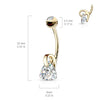 14K Gold ViVi Triangle Belly Bar - Dangling Belly Ring. Navel Rings Australia.