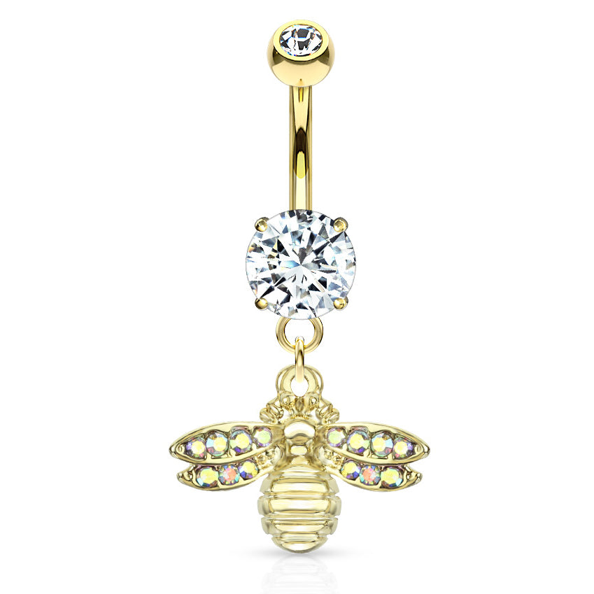 She Bee Belly Dangle in Gold - Dangling Belly Ring. Navel Rings Australia.