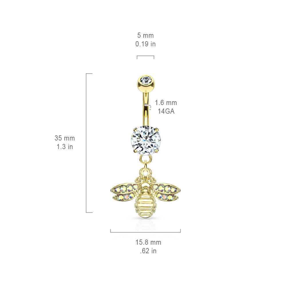 Dangling Belly Ring. Shop Belly Rings. She Bee Belly Dangle in Gold