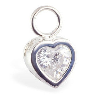 TummyToys® Swinger Charm. Belly Bars Australia. TummyToys® Bezel Set CZ Heart Charm