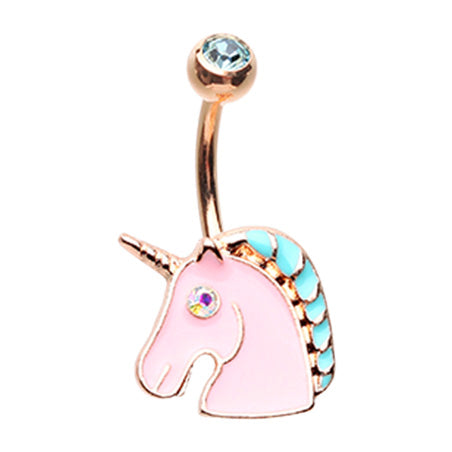 The BFF Unicorn Belly Bar in Rose Gold - Fixed (non-dangle) Belly Bar. Navel Rings Australia.