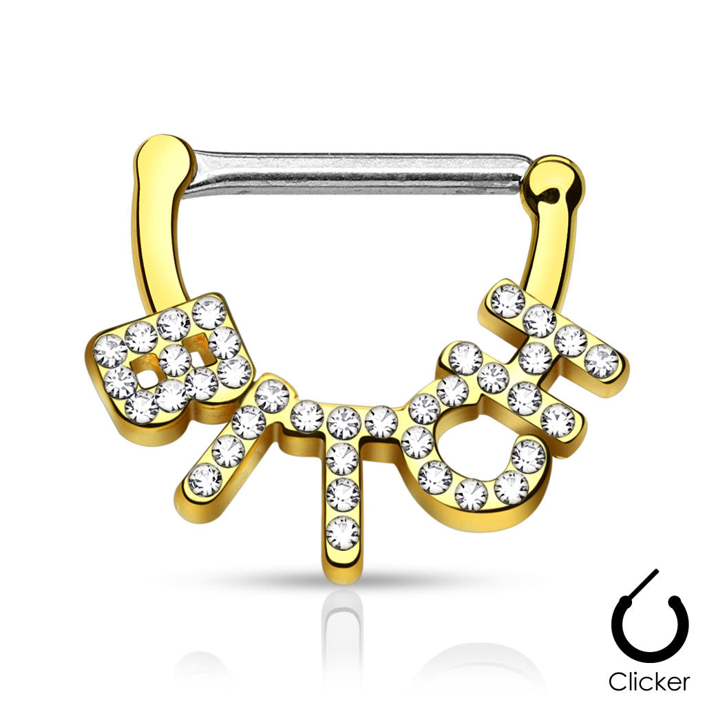 BITCH Nipple Clicker in Gold - Nipple Ring. Navel Rings Australia.