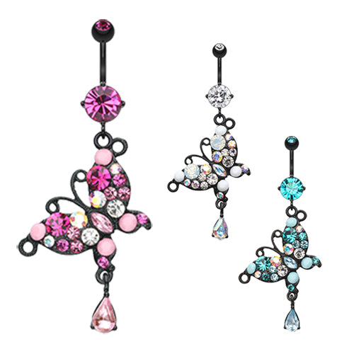 Midnight Jewel Butterfly Belly Ring - Dangling Belly Ring. Navel Rings Australia.