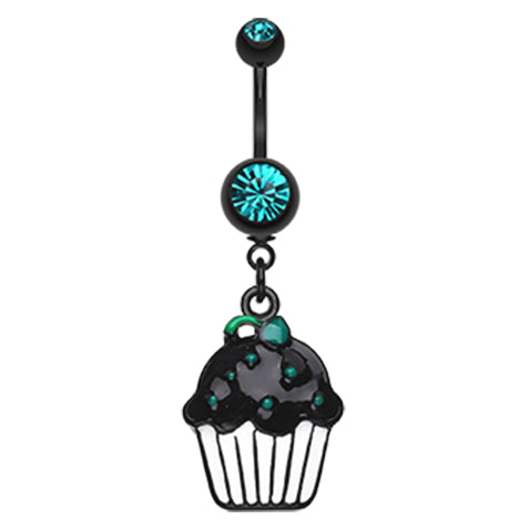 Midnight Munchies Cupcake Belly Dangle - Dangling Belly Ring. Navel Rings Australia.