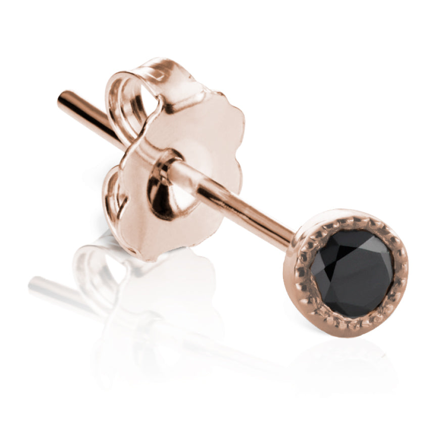 Scalloped Black Diamond Earstud by Maria Tash in 18K Rose Gold - Earring. Navel Rings Australia.
