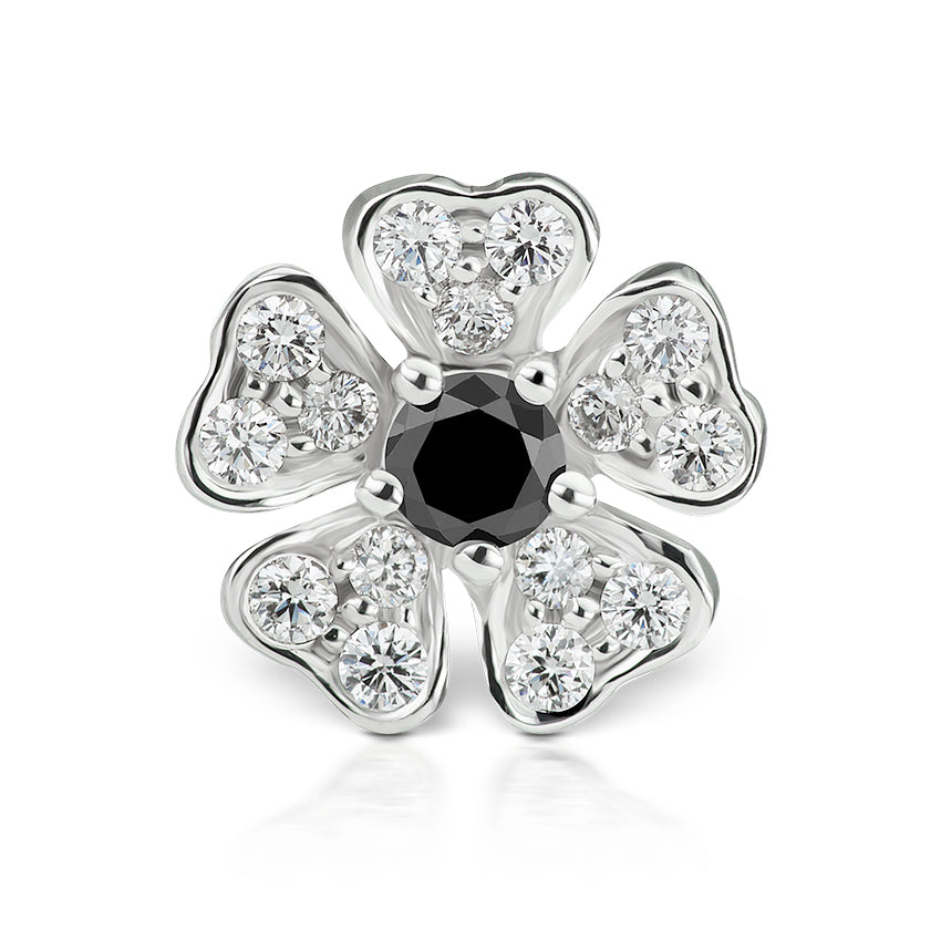 Earring. Shop Belly Rings. Black Diamond Pansy Earring by Maria Tash in 18K White Gold. Threaded Stud.