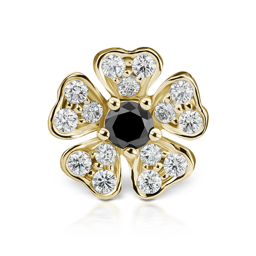 Earring. Quality Belly Bars. Black Diamond Pansy Earring by Maria Tash in 18K Gold. Threaded Stud.