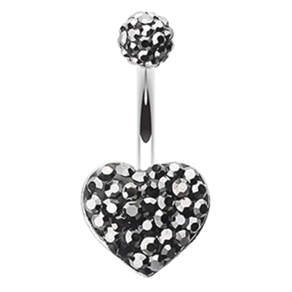 Fixed (non-dangle) Belly Bar. Quality Belly Rings. Motleys™ Midnight Crush Heart Belly Ring