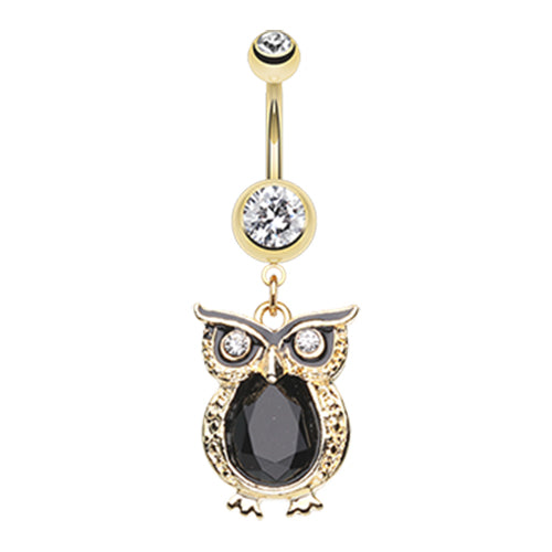 The Cocky Owl Belly Ring - Dangling Belly Ring. Navel Rings Australia.