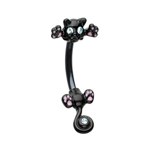The Black Cat Split Belly Bar - Split Spinal Belly Bar. Navel Rings Australia.