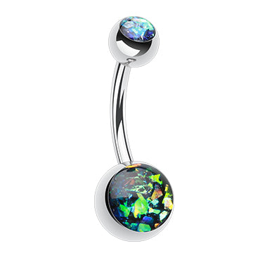 Basic Curved Barbell. Quality Belly Bars. Steel Opal Gleam Classique Belly Bars
