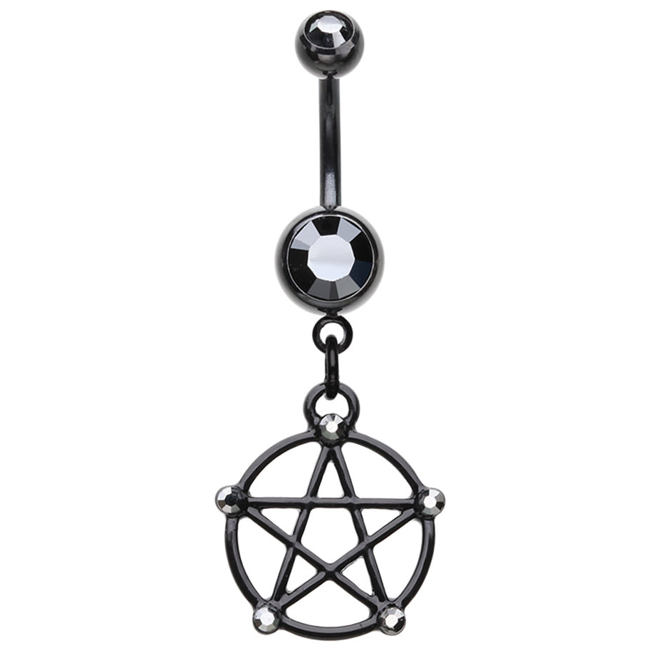 Sigil of Baphomet Dangly Navel Bar - Dangling Belly Ring. Navel Rings Australia.