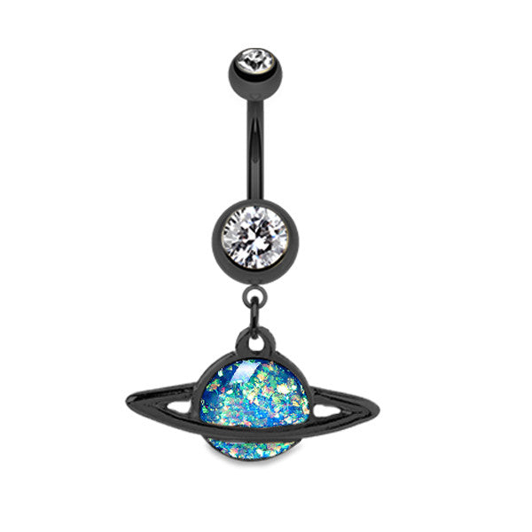 Black Peruvian Opal Saturn Belly Bar - Dangling Belly Ring. Navel Rings Australia.