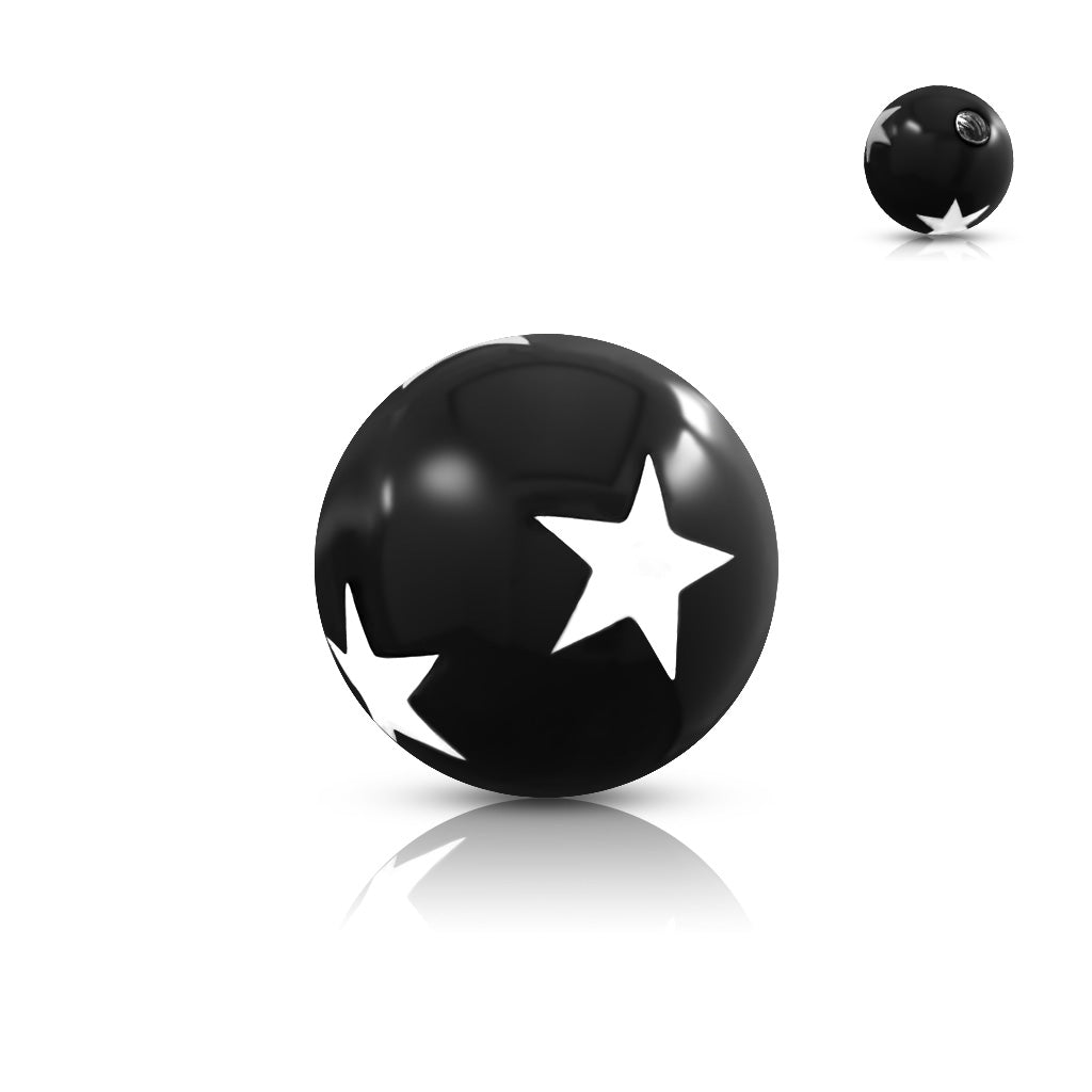 Replacement Ball. Belly Bars Australia. 6mm Galaxy Star 14g Body Jewellery Balls